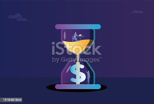 istock Business men work in an hourglass, hourglass and dollars, time is money 1316461644