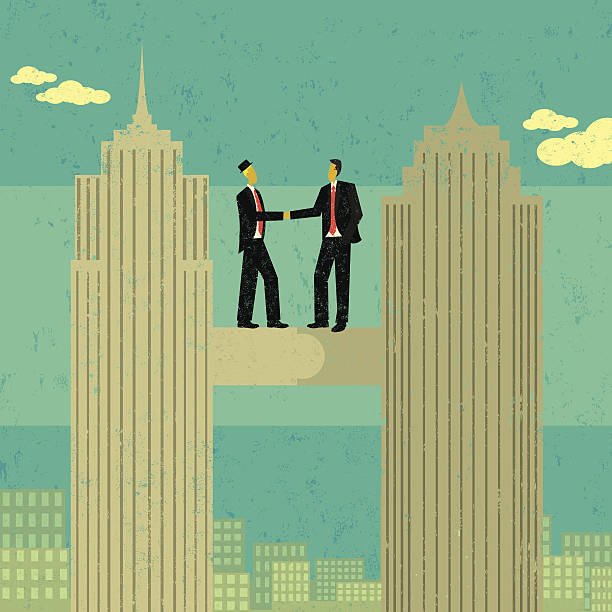 Business merger Two businessmen shaking hands after merging their companies together. The men and skyscrapers are on a separate labeled layer from the buildings and background. RETROROCKET stock illustrations