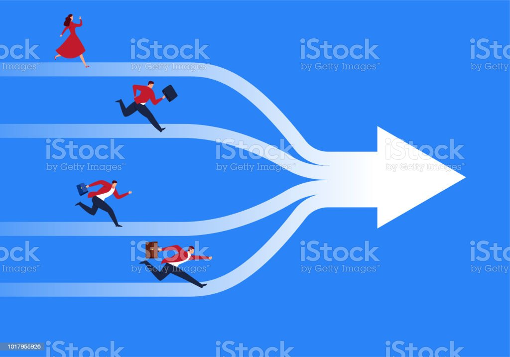 Business mergers and cooperation vector art illustration