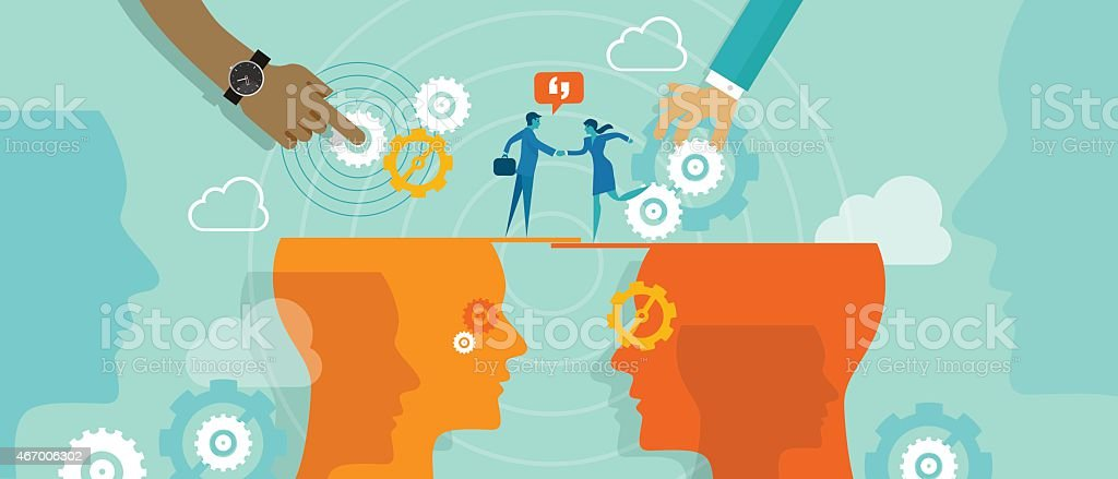 Business metaphor about business collaboration or deals between company vector art illustration