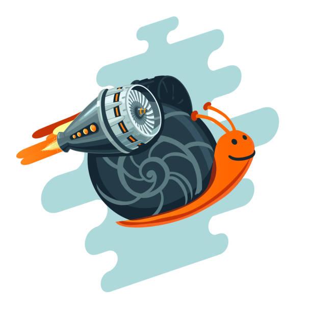business-metapher. schnecke mit rakete turbine fliegen. starten sie symbol. - lustige schnecken stock-grafiken, -clipart, -cartoons und -symbole