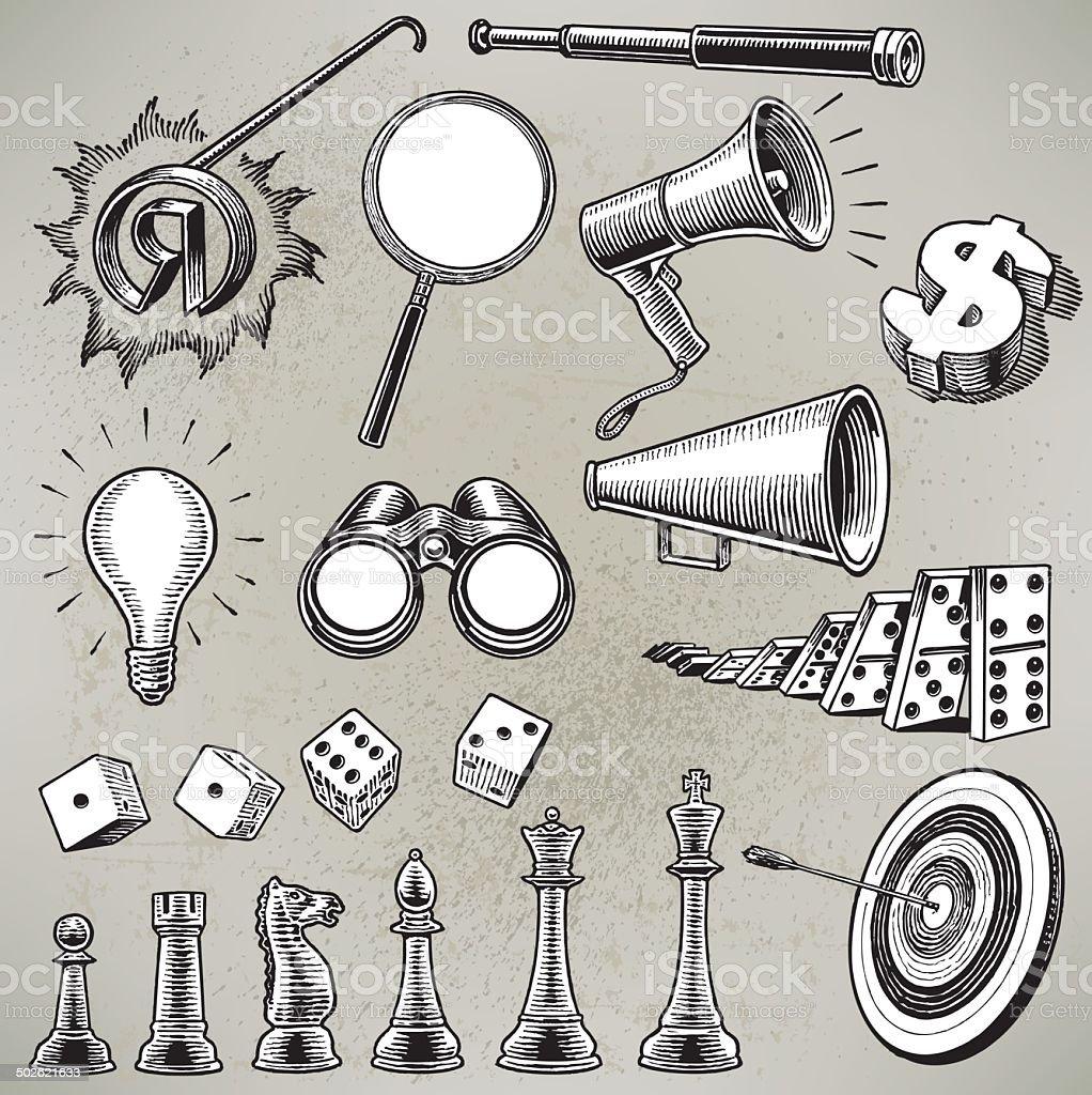 Business Metaphors - Dice, Megaphone, Telescope vector art illustration