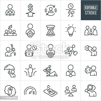 A set of business metaphor icons that include editable strokes or outlines using the EPS vector file. The icons include a businessperson at the helm of a ship, an arrow to a dollar sign, a business person weighed down with a clock, a business person with a cog, an hourglass, a lightbulb, handshake, holding a key to a lock, working at a computer, winning a race, talking into a megaphone, holding an umbrella, at a fork in the road, climbing a mountain, wearing a medal, holding a puzzle piece, and holding a magnifying glass to name a few.