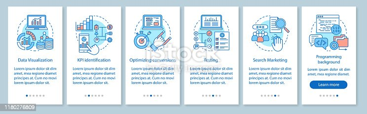 Business metrics courses onboarding mobile app page screen vector template. Marketing and advertising statistics. Walkthrough website steps. Business niche testing. UX, UI, GUI smartphone interface