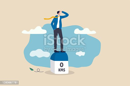 istock Business milestones road map, start new business, vision or career path and future responsibility concept, confidence businessman standing with visionary to the future on starting road milestones. 1283667781