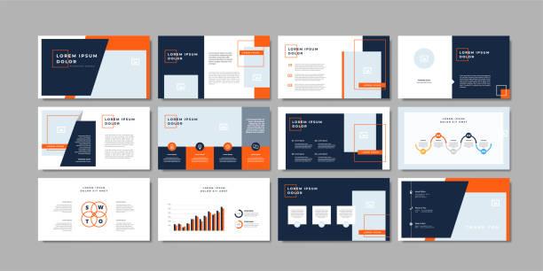 ilustrações, clipart, desenhos animados e ícones de molde mínimo do fundo da apresentação dos slides do negócio. modelo de apresentação de negócios. - deslize