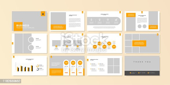 istock Business minimal slides presentation background template. business presentation template. 1182630652