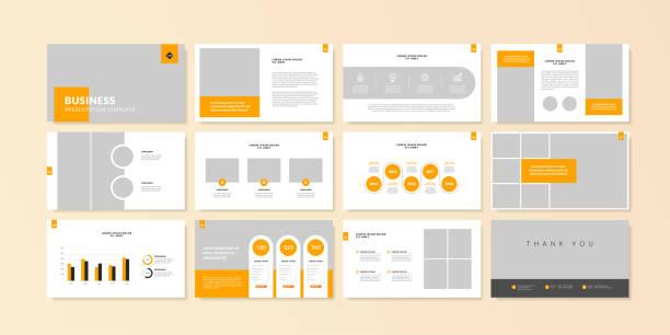 business minimalne slajdy prezentacji szablon tła. szablon prezentacji biznesowej. - broszura stock illustrations