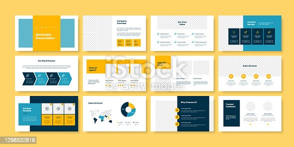 istock Business minimal slides presentation template 1298532816