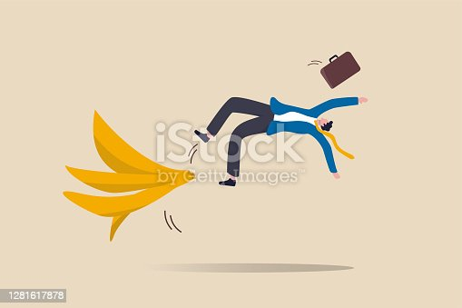 istock Business mistake or accident, insurance, disaster suddenly happened without warning or risk and danger in investment concept, businessman running and slipping with big banana peels on the ground. 1281617878