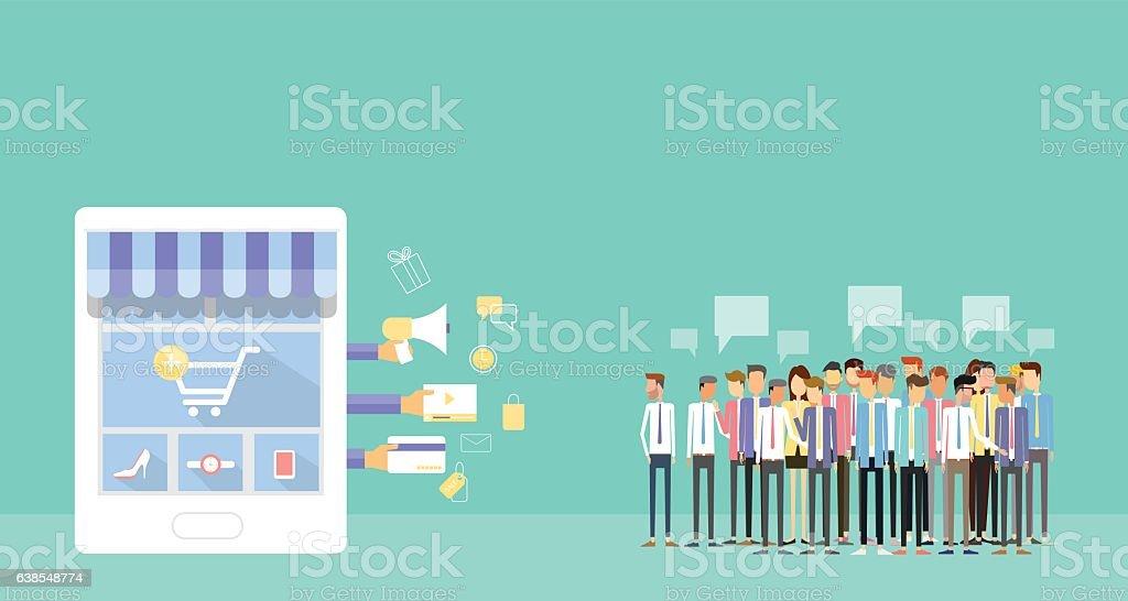 business mobile online shopping concept vector art illustration