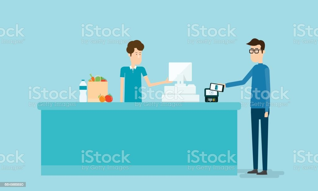 business mobile payment and mobile wallet concept with people on counter vector art illustration