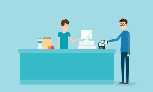 business mobile payment and mobile wallet concept with people on counter This file EPS 10 format. This illustration register stock illustrations