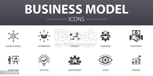 business model simple concept icons set. Contains such icons as strategy, teamwork, marketing, solution and more, can be used for web, logo, UI/UX