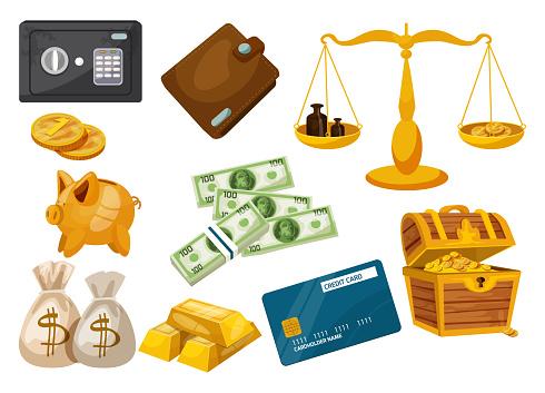 Business, money, deposit dollar, gold icons