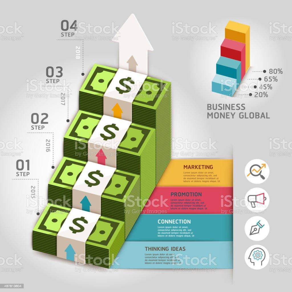 Business Geld global enges Treppenhaus Vorlage. – Vektorgrafik