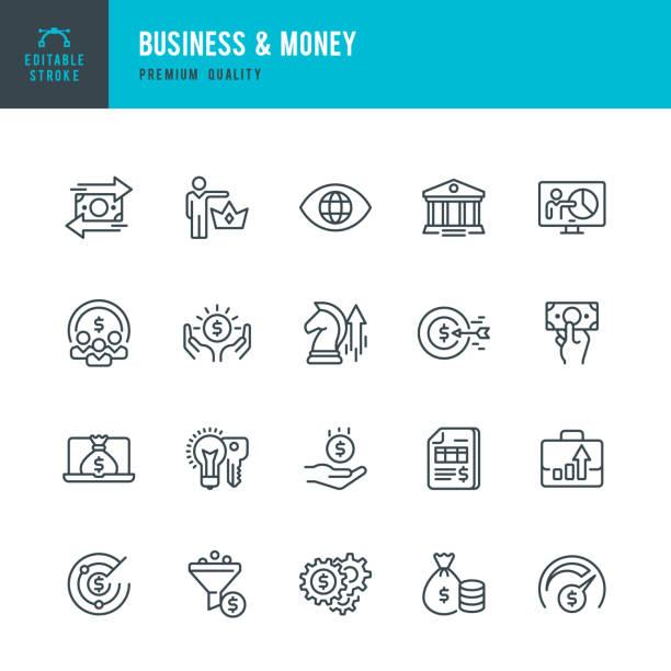 ilustrações, clipart, desenhos animados e ícones de dinheiro e negócios - conjunto de ícones do vetor linha fina - banco edifício financeiro