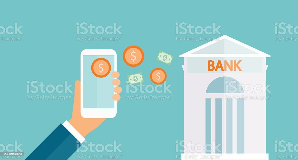 business money transfer on mobile and business mobile banking concept - Illustration vectorielle
