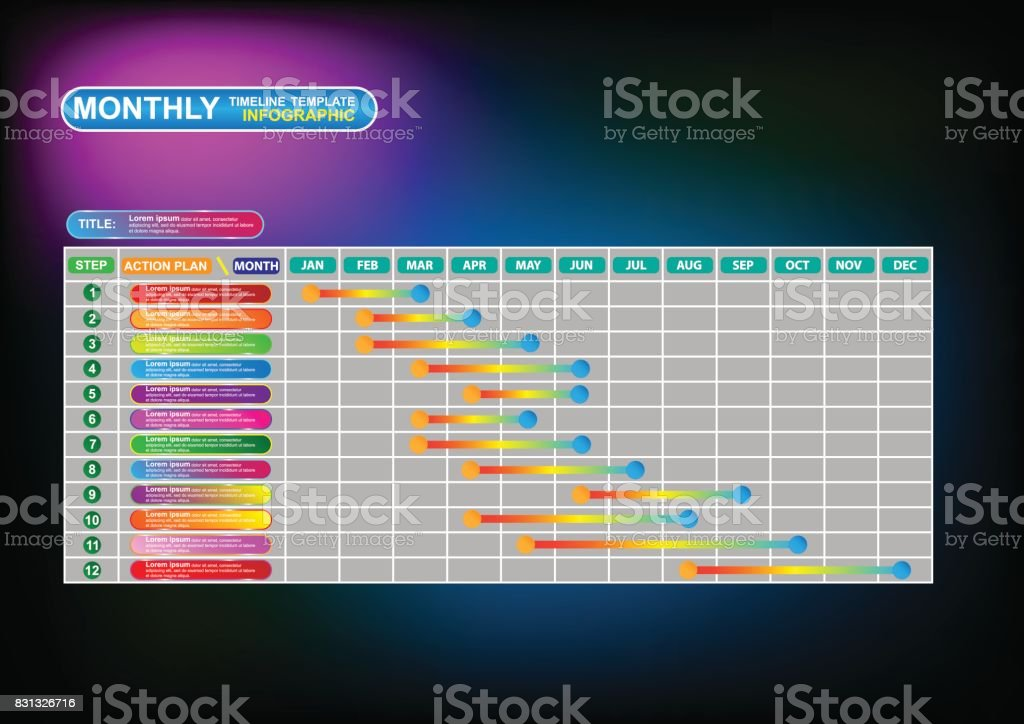 Business monthly timeline infographic template. Vector EPS10 vector art illustration