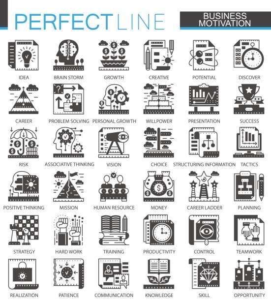 business motivation klassischen schwarzen mini konzept symbole. disziplin modernen piktogramms vektor illustrationen symbolsatz zu finanzieren. - entspannungsmethoden stock-grafiken, -clipart, -cartoons und -symbole
