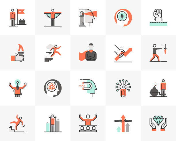 business motivation futuro next icons pack - autorytet stock illustrations
