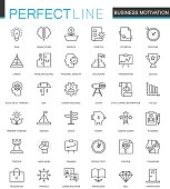 Business motivation thin line web icons set. Brain productivity concentration outline stroke icon design.