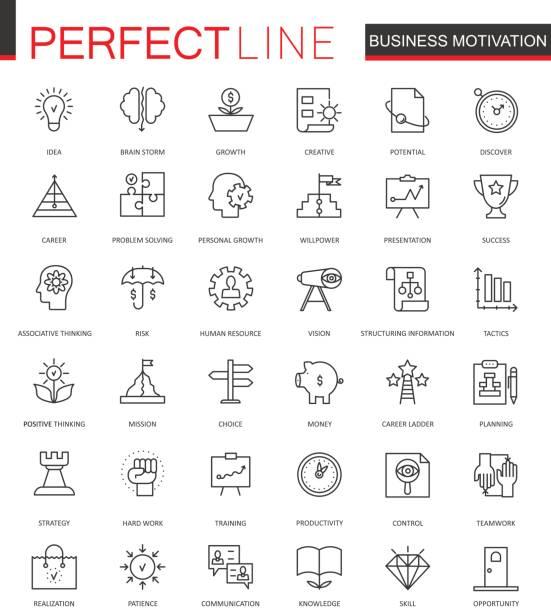 business motivation thin line web icons set. discipline organization outline stroke icons design. - opportunity stock illustrations