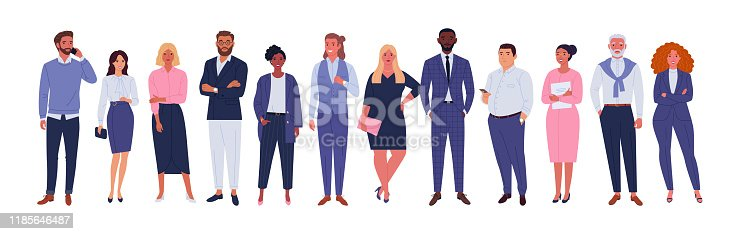 Vector illustration of diverse cartoon men and women of various races, ages and body type in office outfits. Isolated on white.