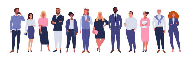 Business multinational team. Vector illustration of diverse cartoon men and women of various races, ages and body type in office outfits. Isolated on white. businesswear stock illustrations