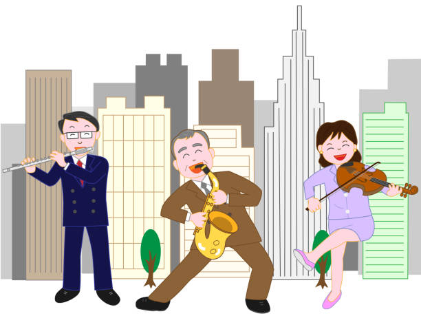 business music - saks stock illustrations