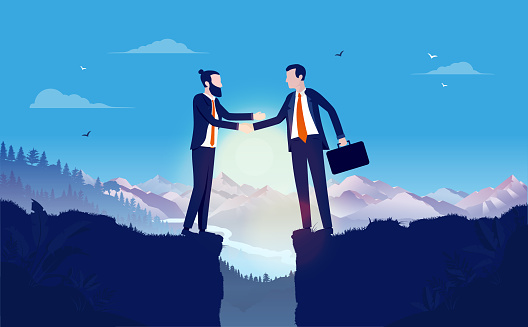 Business negotiation and agreement with gap between