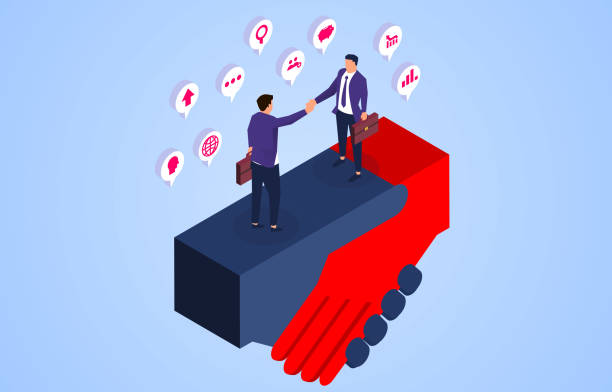 Business negotiation and cooperation, two businessmen standing with huge hands and shaking hands Business negotiation and cooperation, two businessmen standing with huge hands and shaking hands z_wei stock illustrations