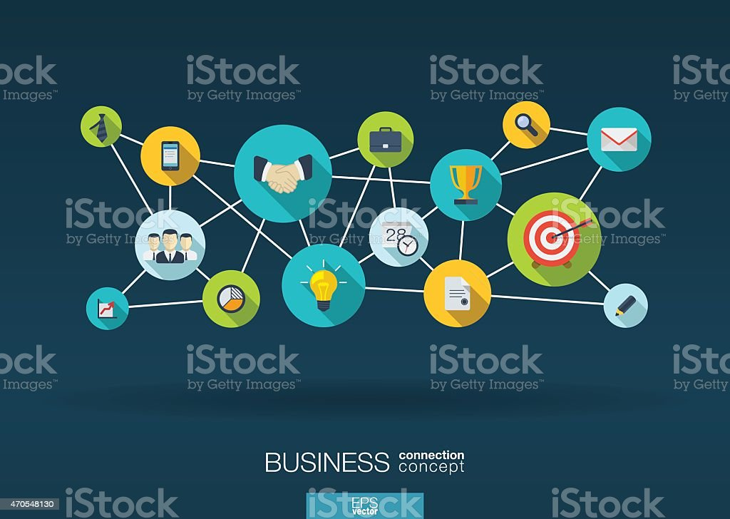 Business network background with lines, circles, integrate flat icons illustration vector art illustration