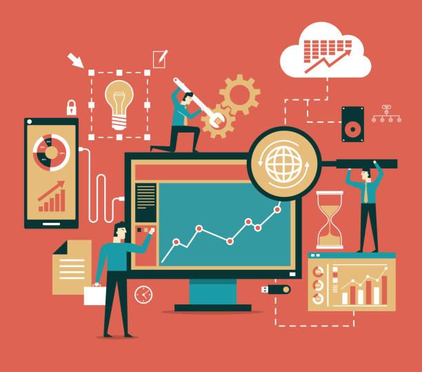 business-netzwerk-konzept - büro zukunft und niemand stock-grafiken, -clipart, -cartoons und -symbole