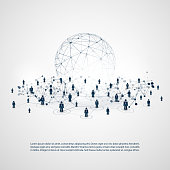 Abstract Cloud Computing and Network Connections Concept Design with Human Resources - Illustration in Editable Vector Format