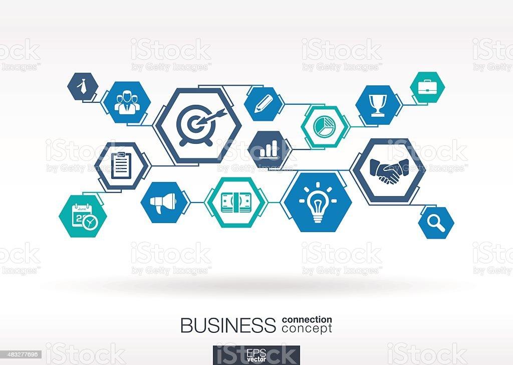 Réseau d'affaires. (hexagone abstrait avec lignes Polygones, incorporez des icônes. - clipart vectoriel de 2015 libre de droits