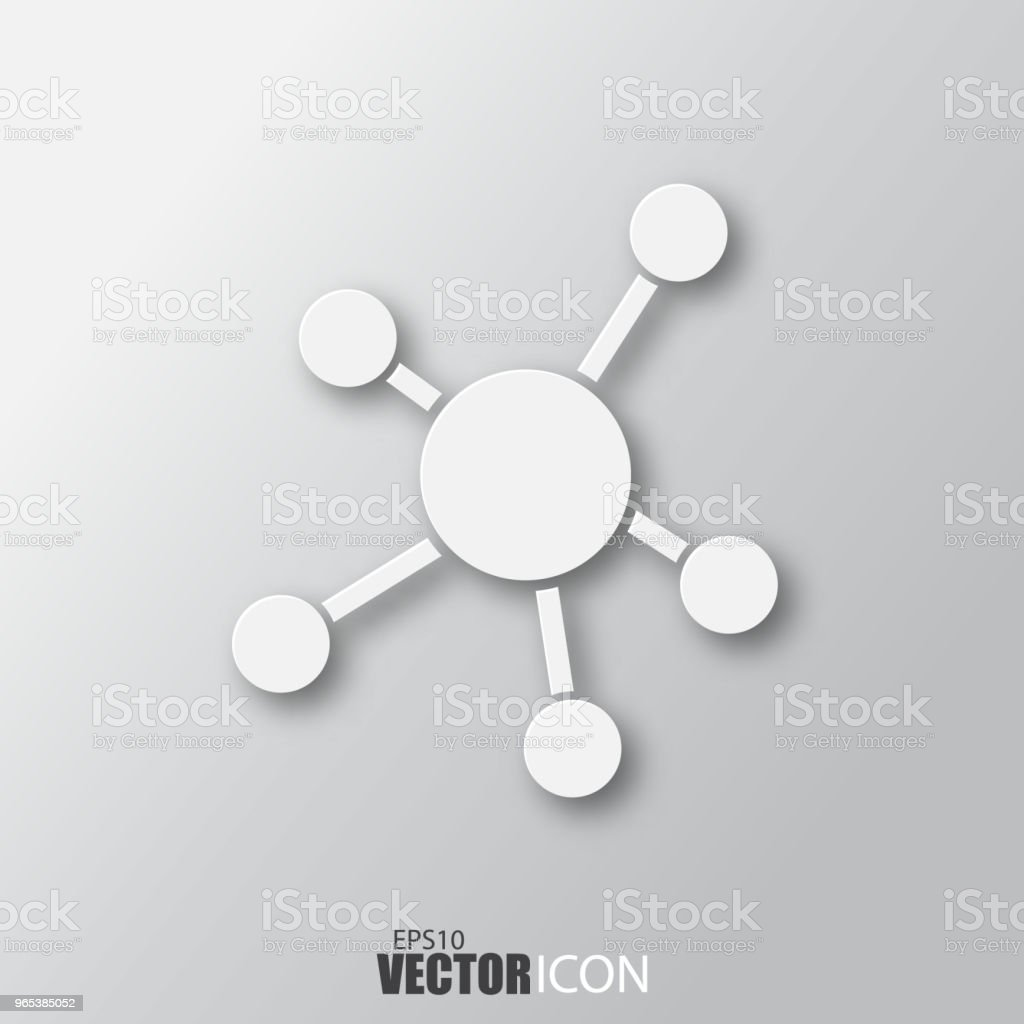 Business network icon in white style with shadow isolated on grey background. royalty-free business network icon in white style with shadow isolated on grey background stock vector art & more images of abstract
