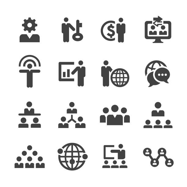 Business Network Icons Set - Acme Series Business Network, organized group stock illustrations