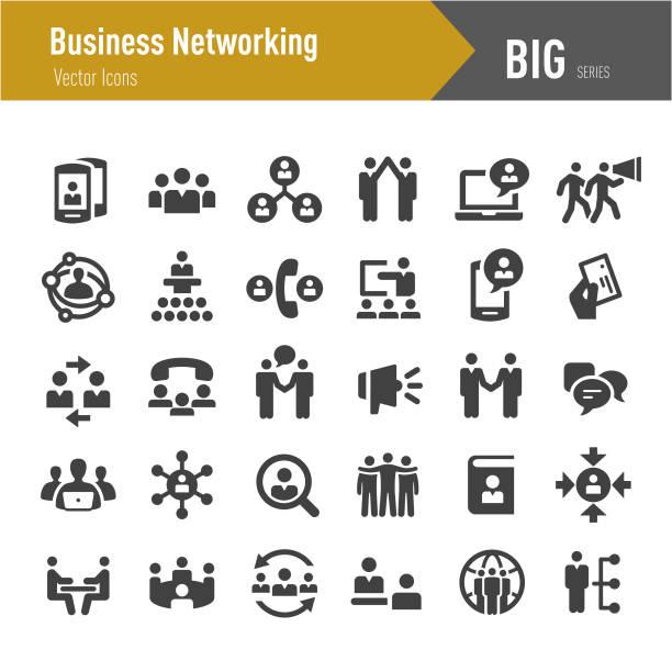 비즈니스 네트워킹 아이콘-큰 시리즈 - 수다 stock illustrations