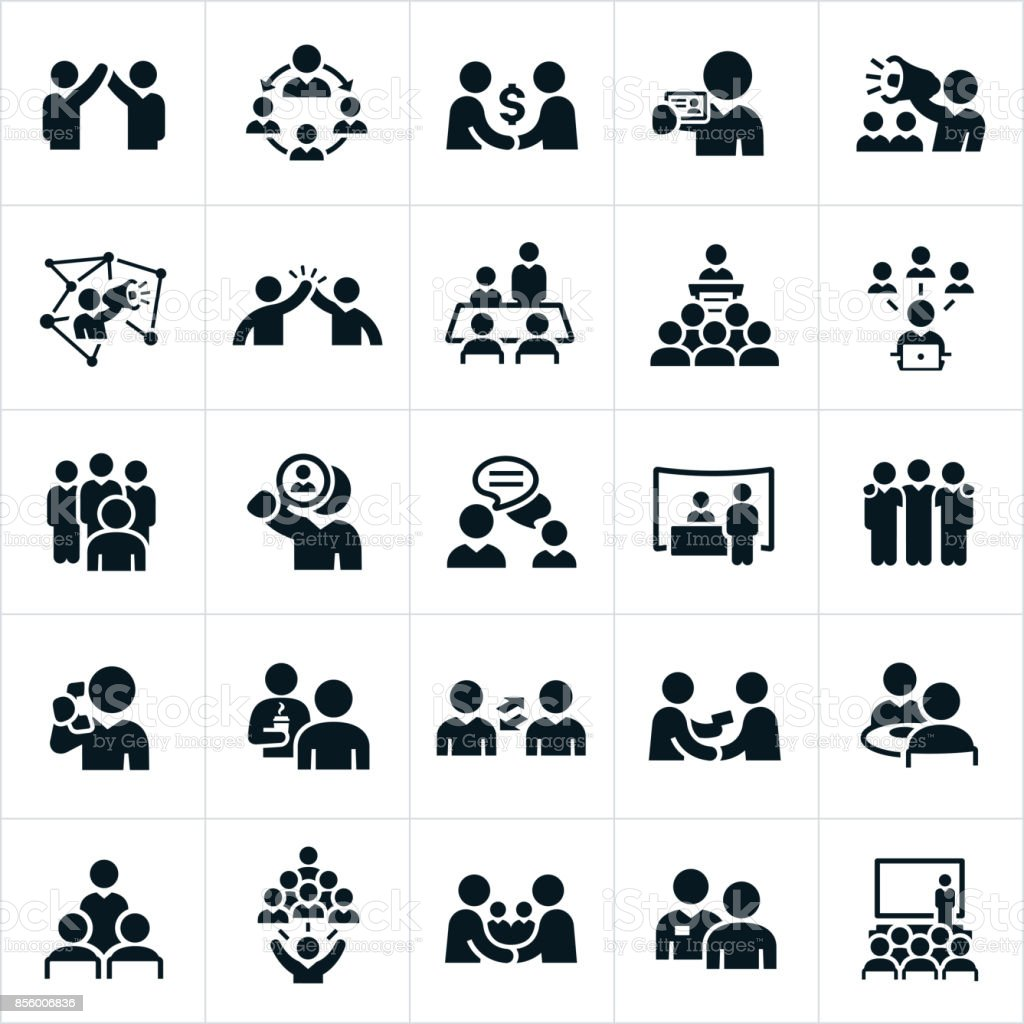 Iconos de las redes de negocios - ilustración de arte vectorial