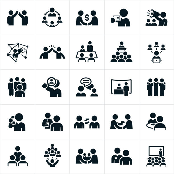 business-networking-icons - sprache kommunikation stock-grafiken, -clipart, -cartoons und -symbole