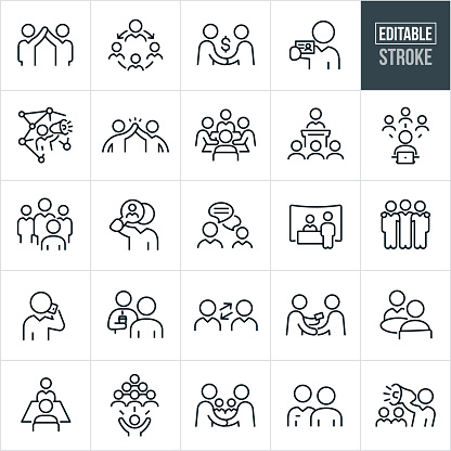 Business Networking Thin Line Icons - Editable Stroke