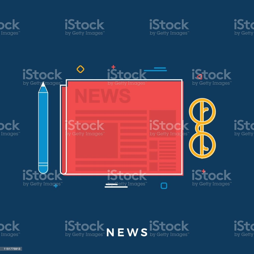 Business News Concept. Newspaper, Pencil and Glasses. Flat Line Art....