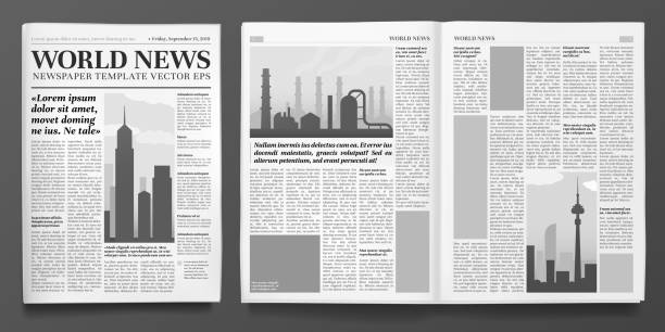 illustrazioni stock, clip art, cartoni animati e icone di tendenza di business newspaper template. financial news headline, newspapers pages and finance journal isolated vector illustration layout - newspaper paper