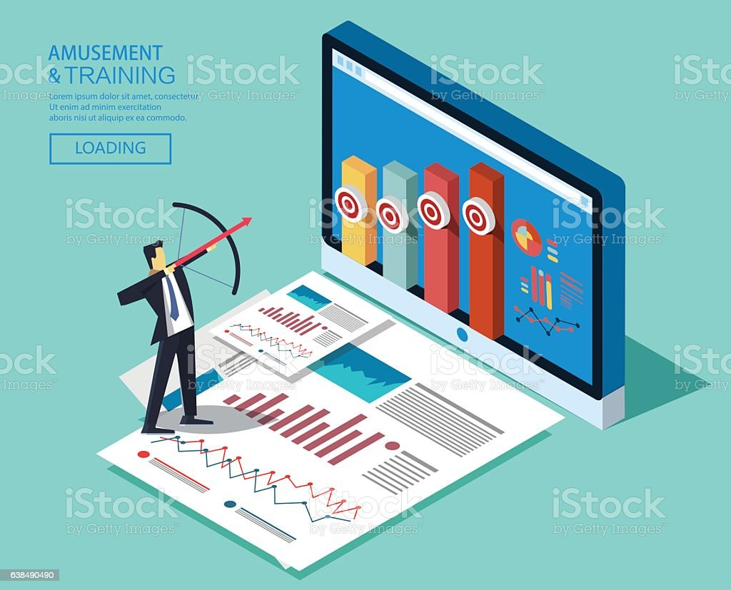 Business objectives vector art illustration