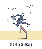 Abstract and symbolic presentation. Business obstacles. Business people jumping over obstacle. Outline vector illustration.