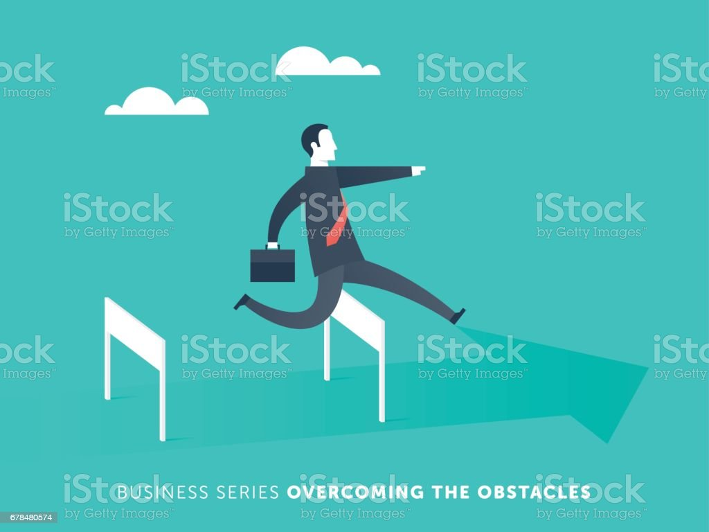 Business Obstacles vector art illustration