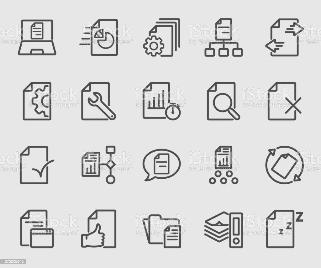 Negocio de icono de línea de flujo de documento - ilustración de arte vectorial
