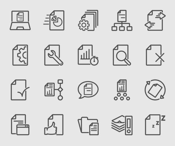 ilustraciones, imágenes clip art, dibujos animados e iconos de stock de negocio de icono de línea de flujo de documento - trabajo de oficina