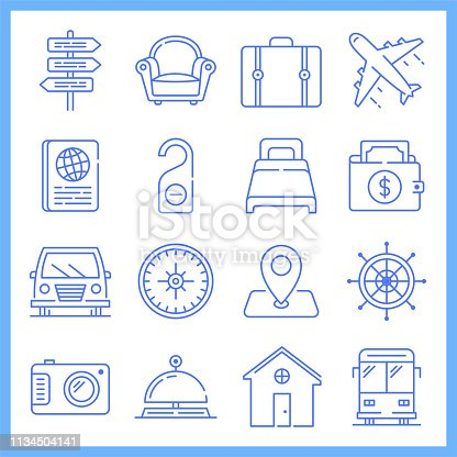 Modern business of travel and tourism blueprint style concept outline symbols. Line vector icon sets for infographics and web designs.